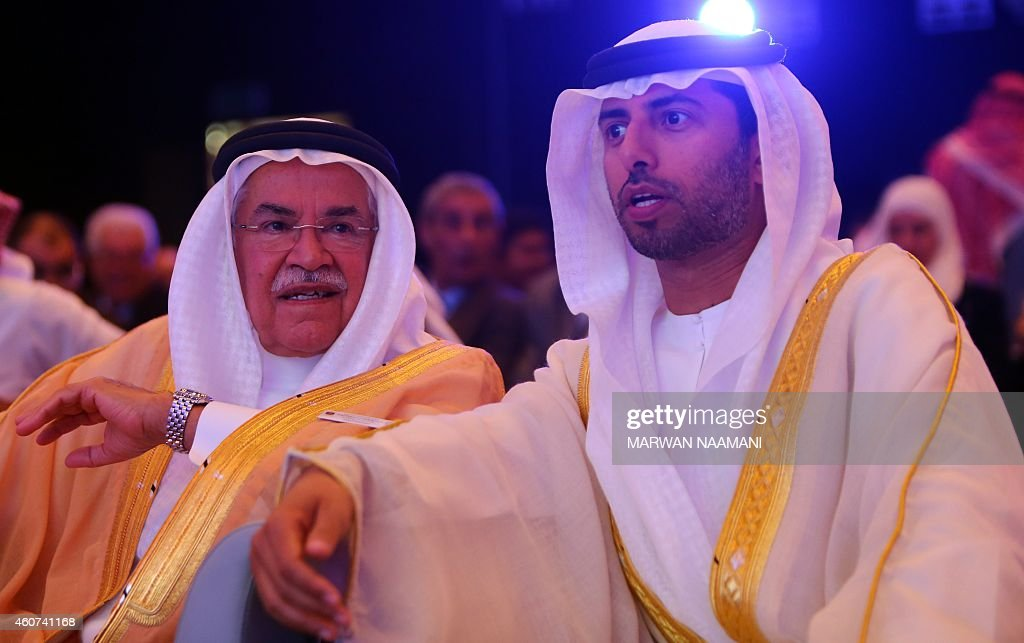 Saudi Oil Minister Ali al-Naimi (C) speaks with United Arab Emirates Energy Minister Suhail bin Mohamed al-Mazroui (R) during the opening session of the 10th Arab Energy Conference in Abu Dhabi, on December 21, 2014. 'Irresponsible' levels of output by producers from outside the OPEC oil cartel is among the main causes of the slump in prices, the United Arab Emirates energy minister told the energy forum. AFP PHOTO/MARWAN NAAMANI