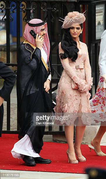 Saudi Prince AlWaleed bin Talal and Princess Ameerah leave the Abbey following the marriage of Their Royal Highnesses Prince William Duke of...