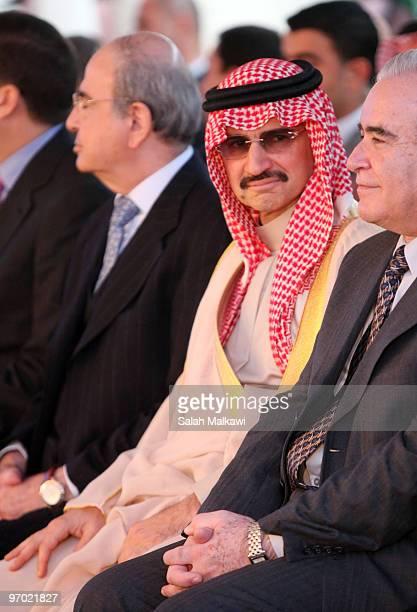 Saudi Prince Alwaleed bin Talal attends an opening at The Open Arab University on February 24 2010 in Amman Jordan