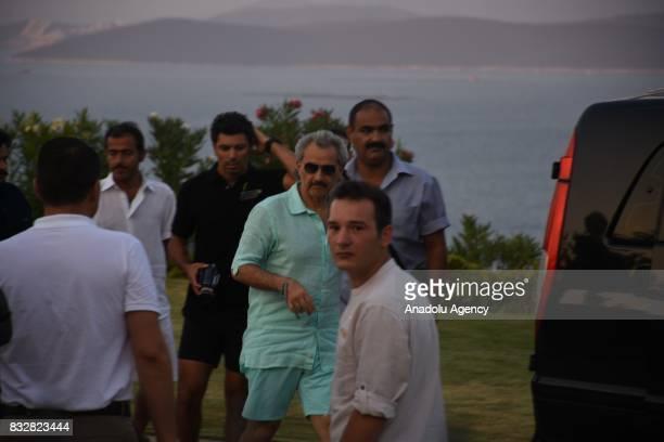 Saudi Prince AlWaleed Bin Talal bin Abdulaziz al Saud is seen after taking a buggy ride to return to the hotel at Bodrum in Mugla Province of Turkey...