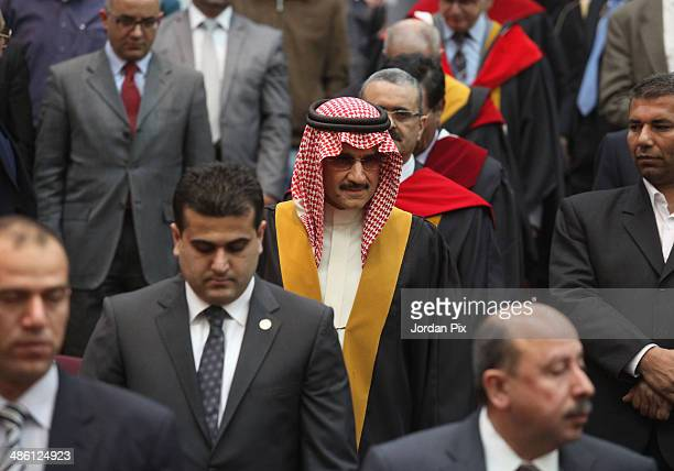Saudi Prince Alwaleed bin Talal receives a honorary doctorate in international business in Amman Jordan on April 22 2014 Prince Alwaleed bin Talal...