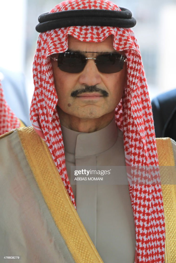 Saudi prince Al-Walid bin Talal visits the West Bank city of Ramallah on March 4, 2014. The Saudi billionaire is visiting the West Bank, where he will meet Palestinian president Mahmud Abbas.