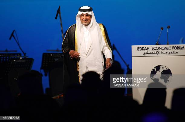 Saudi Prince Khaled alFaisal bin Abdul Aziz Governor of the Mecca Province leaves the stage after addressing the Jeddah Economic Forum in the Red Sea...