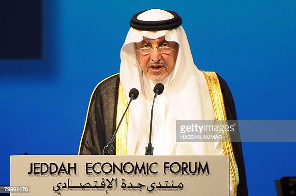 Saudi Prince Khaled alFaisal bin Abdul Aziz Governor of the Mecca Province addresses the Jeddah Economic Forum in the Red Sea port city of Jeddah...