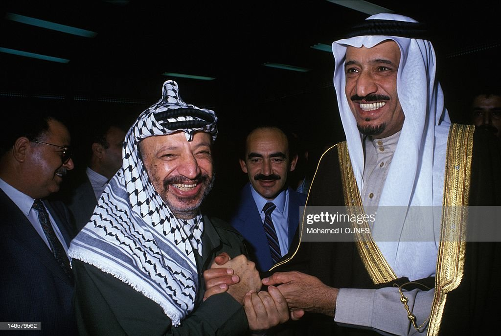 Saudi Prince Salman bin Abdul-Aziz Al Saud, Governor of Riyadh Province, with PLO leader Yasser Arafat on November 20, 1988 in Algiers, Algeria.
