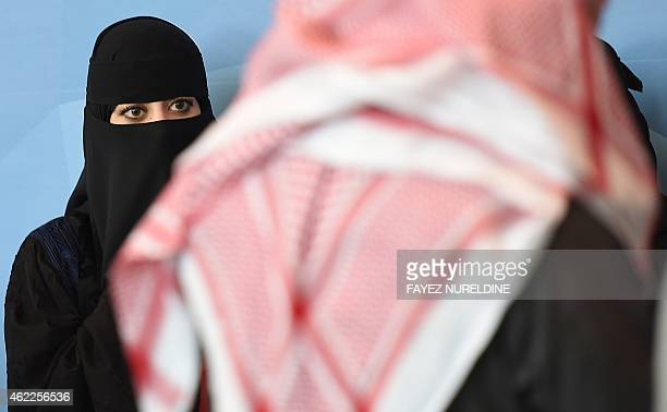 A Saudi woman attends the 9th Global Competitiveness Forum held in Riyadh on January 26 2015 Saudi Arabia's new leadership will push forward efforts...