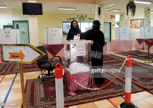 A Saudi woman casts her ballot at a polling station in the coastal city of Jeddah on December 12 during municipal elections Saudi women were allowed...