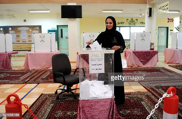 Saudi woman casts her ballot in a polling station in the coastal city of Jeddah on December 12 2015 Saudi women were allowed to vote in elections for...