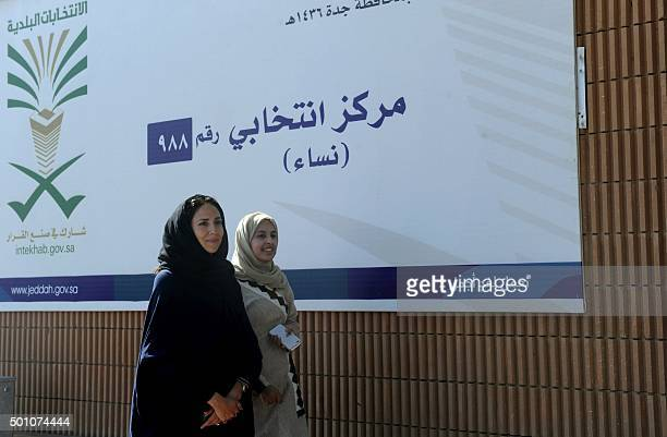 Saudi women arrive at a polling station in the coastal city of Jeddah on December 12 during municipal elections Saudi women were allowed to vote in...