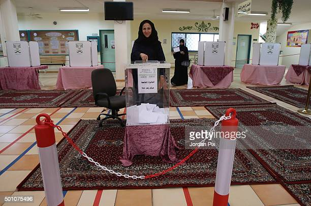 Saudi women cast their votes for the municipal elections at a polling station on December 12 2015 in Jeddah Saudi Arabia Saudi Women are running the...