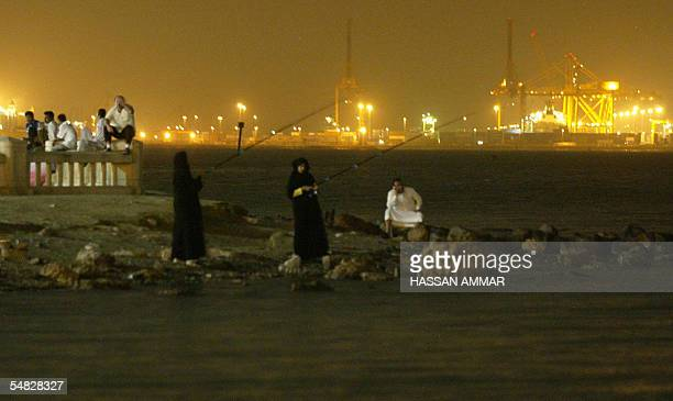Saudi women fish on the corniche of the Red Sea port of Jeddah 05 September 2005 Saudi security forces exchanged sporadic fire with suspected AlQaeda...