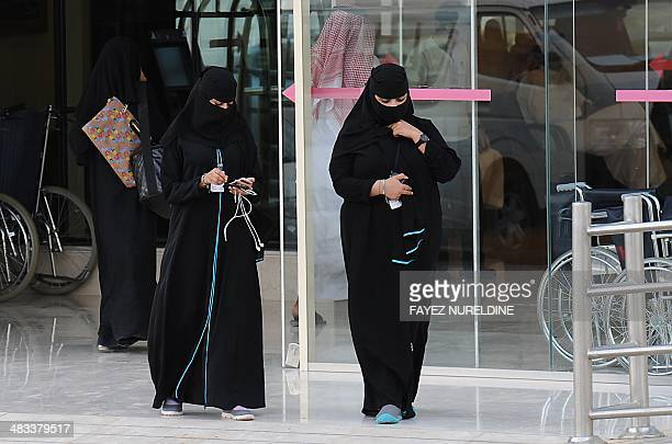 Saudi women leave the emergency department at a hospital in the center of the Saudi capital Riyadh on April 8 2014 The health ministry reported four...