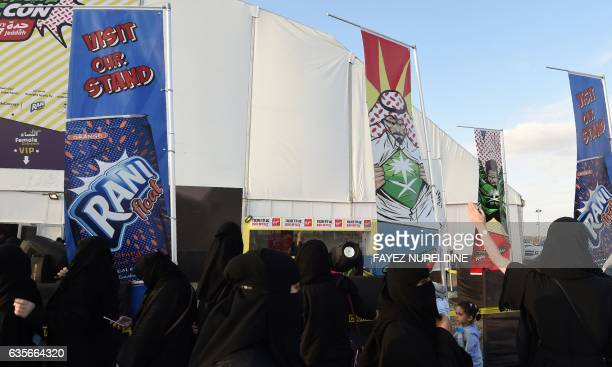 Saudi women queue up outside the venue hosting the country's first ever ComicCon event in the coastal city of Jeddah on February 16 2017 The threeday...