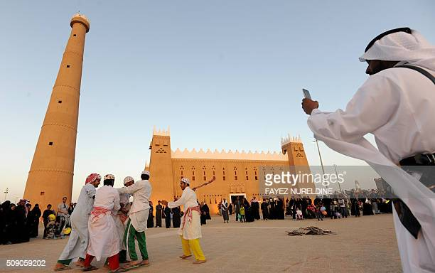 Saudis attend the Janadriyah festival of Heritage and Culture held in the Saudi village of AlThamama 50 kilometres north of the capital Riyadh on...