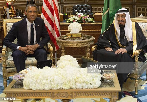 Saudi's newly appointed King Salman meets with US President Barack Obama at Erga Palace in Riyadh on January 27 2015 Obama landed in Saudi Arabia...