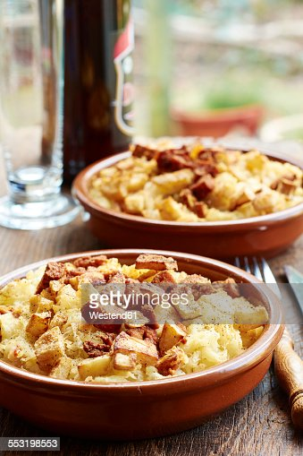 Sauerkraut, mashed potato casserole with crispy celery root and spicy tofu
