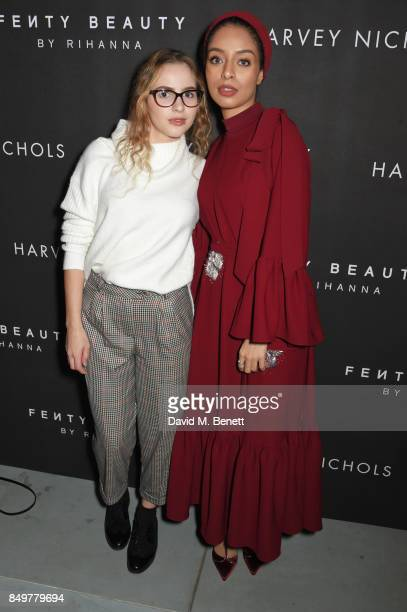 Saufeeya Goodson and guest attend the Fenty Beauty x Harvey Nichols launch at Harvey Nichols on September 19 2017 in London England