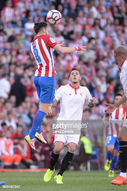 Saul #8 of Atletico de Madrid during The La Liga match between Atletico Madrid v Valencia FC at Vicente Calderon on March 19 2017 in Madrid Spain