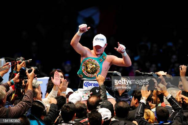 Saul Alvarez of Mexico celebrate the victory against Kermit Cintron of Puerto Rico for the WBC Super Welterweight title at Mexico bullring on...