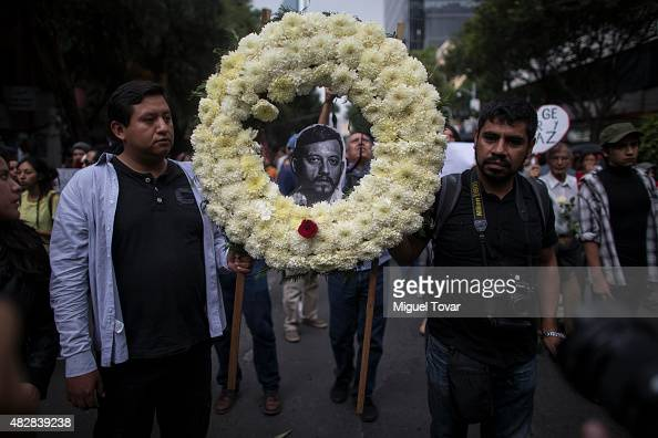 Saul and Moises photojournalists of Cuartooscuro agency protest the murder of their colleague Ruben Espinosa Becerril on August 02 2015 in Mexico...