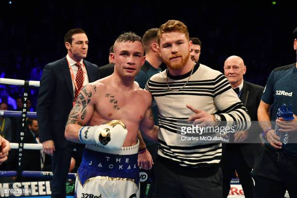Saul 'Canelo' Alvarez poses for photographers with Carl Frampton during the Frampton Reborn boxing bill at SSE Arena Belfast on November 11 2017 in...