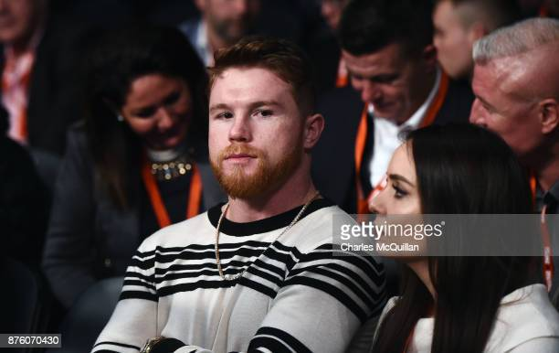 Saul 'Canelo' Alvarez watches on from ringside during the Frampton Reborn boxing bill at SSE Arena Belfast on November 11 2017 in Belfast Northern...