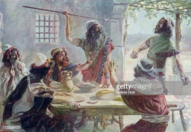 Saul casts a javelin at Jonathan by J James Tissot Illustration to book of Samuel 2033 'And Saul cast a javelin at his to smite him whereby Jonathan...