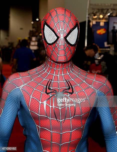 Saul Cervantes of California dressed as SpiderMan attends Wizard World Comic Con Las Vegas at the Las Vegas Convention Center on April 24 2015 in Las...