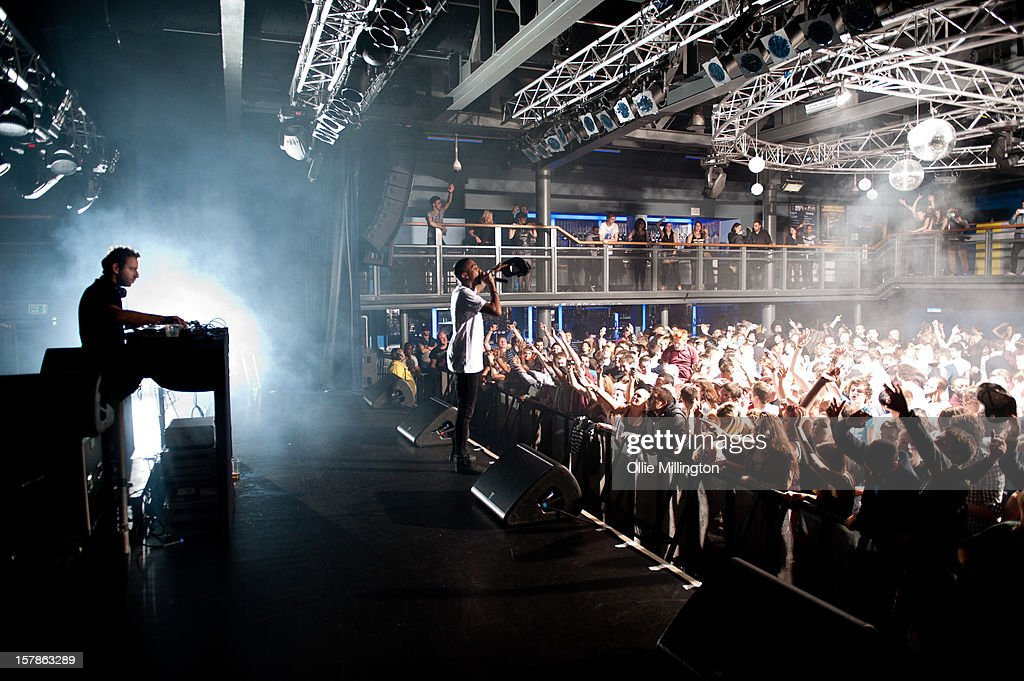 Saul 'Chase' Milton and MC Rage of Chase Status perform during a Bassmentality event at the 02 Academy on December 6 2012 in Leicester England