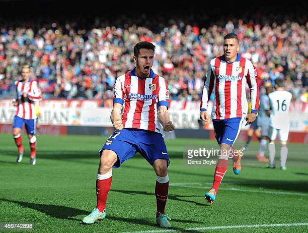 Saul Diges of Club Atletico de Madrid celebrates after scoring his team's opening goal during the La Liga match between Club Atletico de Madrid and...