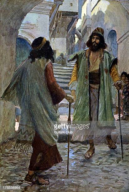 Saul meets Samuel by J James Tissot Illustration to book of Samuel 417 'Amd when Samuel saw Saul the Lord said unto him Behold the man whom I spake...