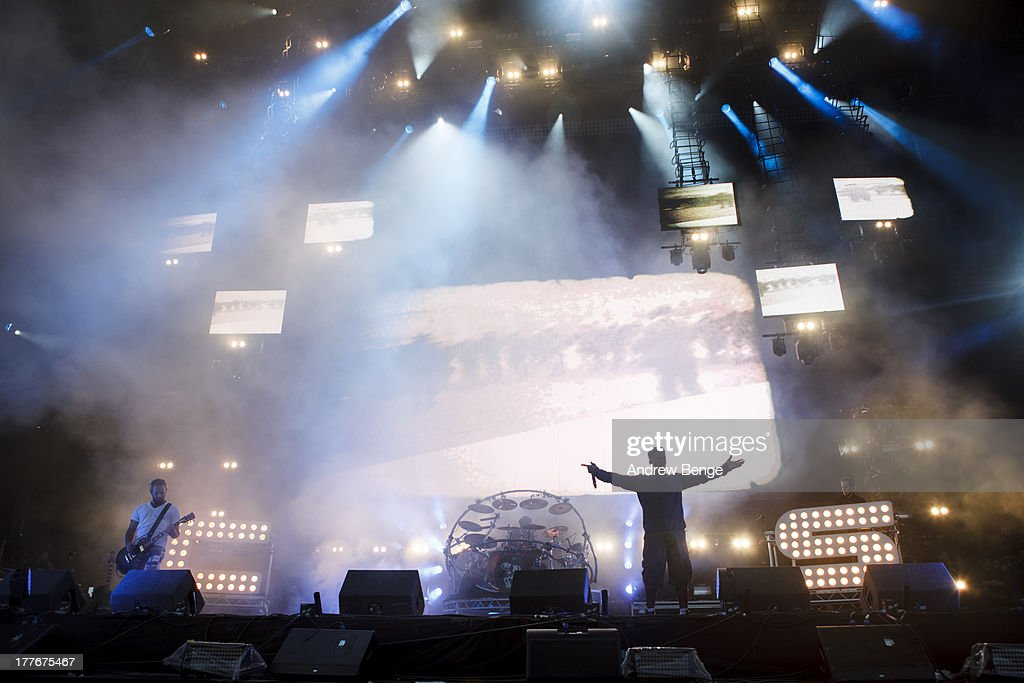 Saul Milton, Will Kennard and Tempa T of Chase and Status perform on stage on Day 3 of Leeds Festival 2013 at Bramham Park on August 25, 2013 in Leeds, England.