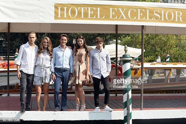 Saul Nanni Beatrice Vendramin Leonardo Checch Eleonora Gaggero and Federico Russo of the TV series 'Alex Co' arrive at Excelsior Darsena on September...