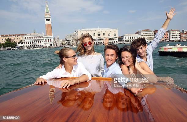 Saul Nanni Beatrice Vendramin Leonardo Checchi Eleonora Gaggero and Federico Russo of the TV series 'Alex Co' are seen in Venice on September 10 2016...
