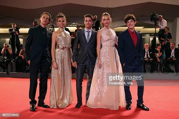 Saul Nanni Eleonora Gaggero Leonardo Cecchi Beatrice Vendramin and Federico Russo of the TV series 'Alex Co' attends the premiere of 'The Magnificent...