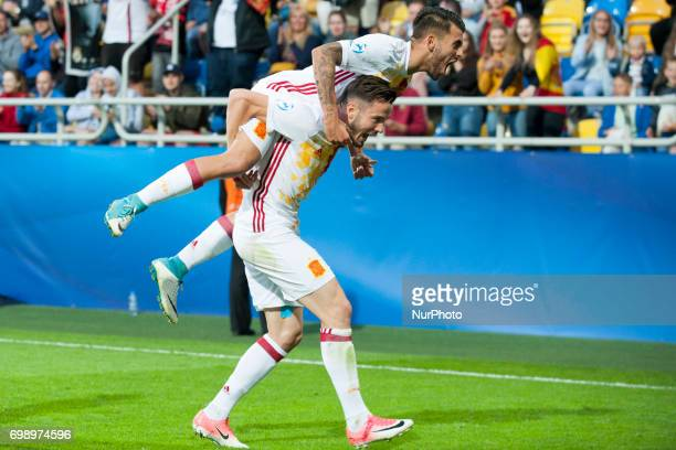 Saul Niguez and Dani Ceballos of Spain celebrate after score during the UEFA European Under21 Championship 2017 Group B match between Portugal and...