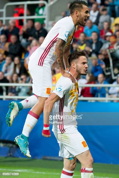 Saul Niguez and Dani Ceballos of Spain celebrate first goal for Spain during the UEFA European Under21 Championship 2017 Group B match between...