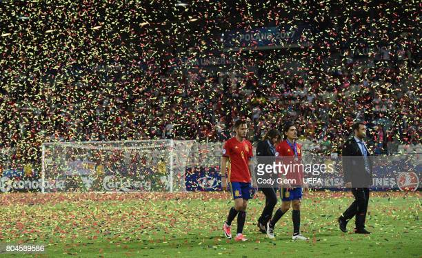 Saul Niguez and Hector Bellerin of Spain after their UEFA European Under21 Championship 2017 final match against Germany on June 30 2017 in Krakow...