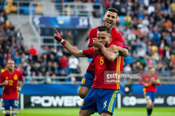 Saul niguez and Jose Gaya of Spain celebrate after first goal for Spain during the UEFA Under 21 Championship Group B match between Spain and FYR...