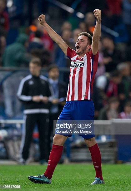 Saul Niguez celebrates scoring their opening goal during the UEFA Champions League Group C match between Club Atletico de Madrid and FC Astana at...