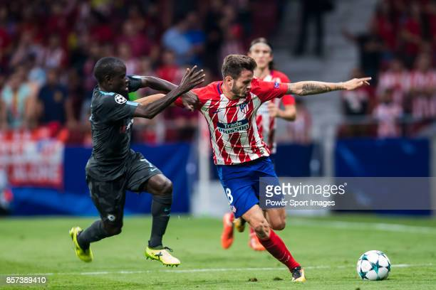 Saul Niguez Esclapez of Atletico de Madrid competes for the ball with N'Golo Kante of Chelsea FC during the UEFA Champions League 201718 match...