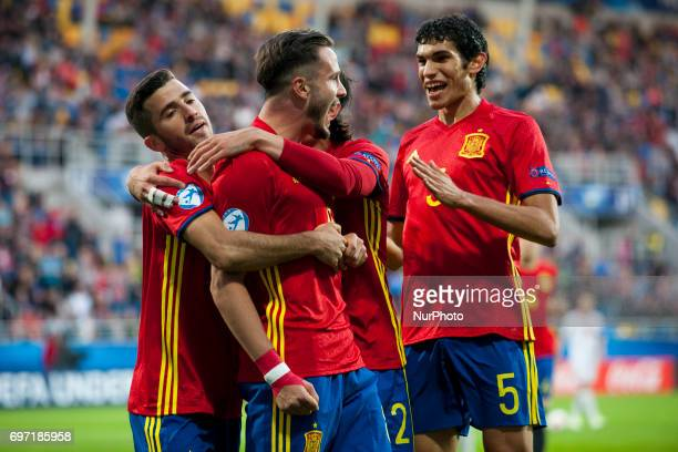 Saul Niguez Jose Gaya Hector Bellerin and Jesus Vallejo of Spain celebrate during the UEFA Under 21 Championship Group B match between Spain and FYR...