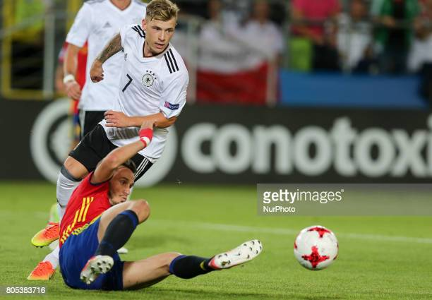 Saul Niguez Max Meyer during the UEFA U21 Final match between Germany and Spain at Krakow Stadium on June 30 2017 in Krakow Poland