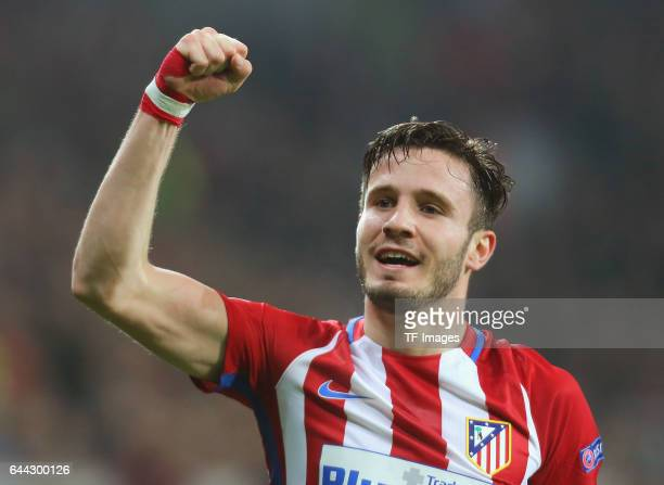 Saul Niguez of Atletico celebrates after he scores the opening goal during the UEFA Champions League Round of 16 first leg match between Bayer...