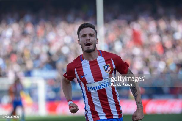 Saul Niguez of Atletico de Madrid celebrates after scoring his opening goal during a match between Club Atletico Madrid and SD Eibar as part of La...