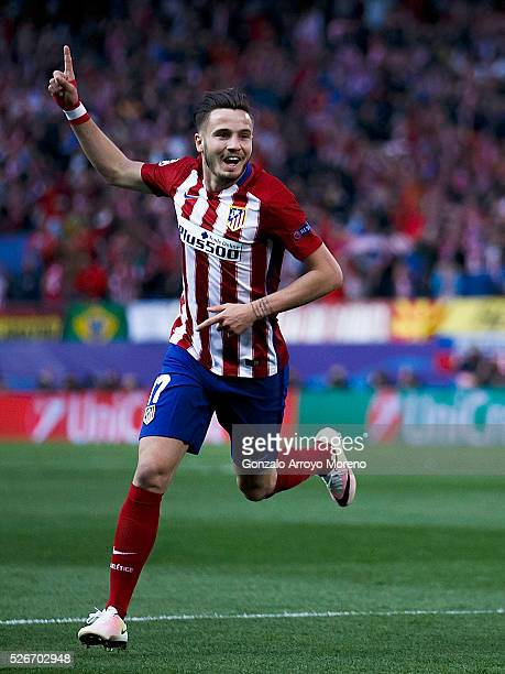 Saul Niguez of Atletico de Madrid celebrates scoring their opening goal during the UEFA Champions League Semi Final first leg match between Club...