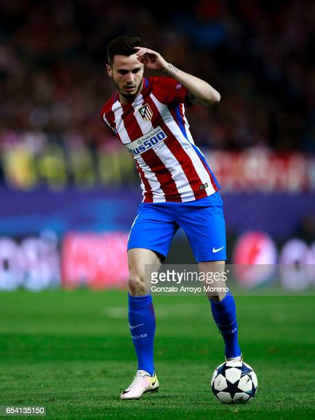 Saul Niguez of Atletico de Madrid controls the ball during the UEFA Champions League Round of 16 second leg match between Club Atletico de Madrid and...