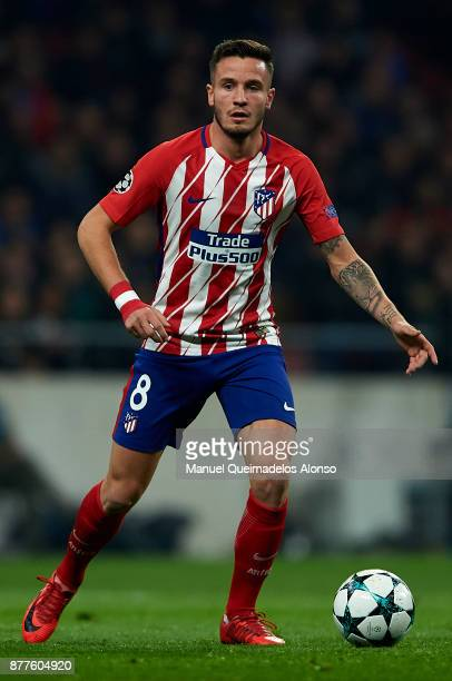 Saul Niguez of Atletico de Madrid in action during the UEFA Champions League group C match between Atletico Madrid and AS Roma at Estadio Wanda...