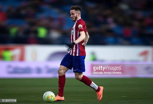 Saul Niguez of Atletico de Madrid runs for the ball during the La Liga match between Club Atletico de Madrid and Real Sociedad de Futbol at Vicente...