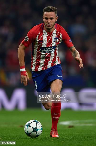 Saul Niguez of Atletico de Madrid runs with the ball during the UEFA Champions League group C match between Atletico Madrid and AS Roma at Estadio...